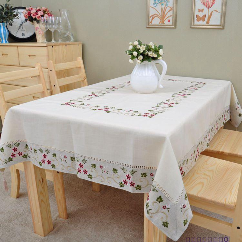 3 Size Embroidered Tablecloth Classical Dinner Table cloth Linen Cotton Table Cover