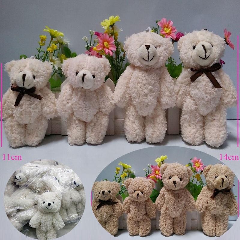 40PCS LOT Kawaii Small Joint Teddy Bears Stuffed Plush Whit Chain 11CM Toy Teddy Bear Mini