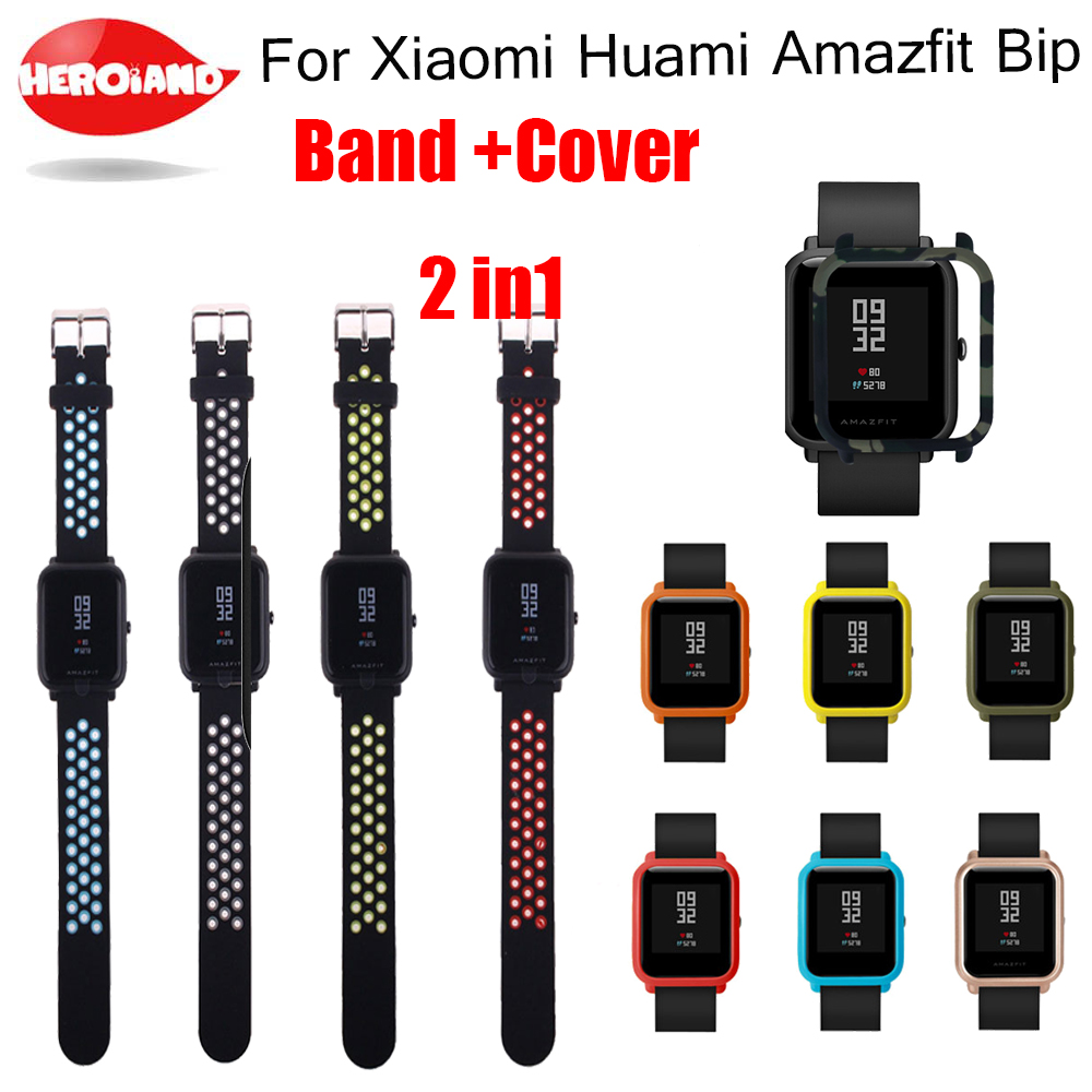 <font><b>2</b></font> In1 Watchband wrist Strap for Xiaomi Huami <font><b>Amazfit</b></font> Bip <font><b>BIT</b></font> PACE Lite Youth Watch Bracelet + Case Cover for huami <font><b>amazfit</b></font> band image