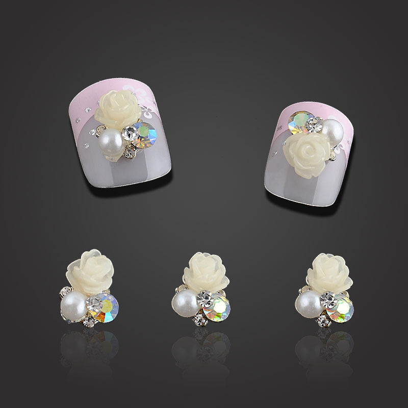 2015 DIY 10pcs/pack White Rose 3d Nail Charms Rhinestones Pes