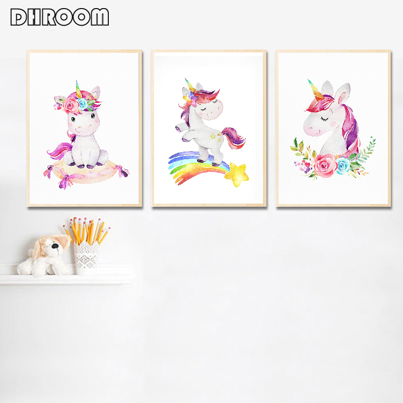 Be a Unicorn in the Field of Horses Childrens Nursery Room Art Poster Wall