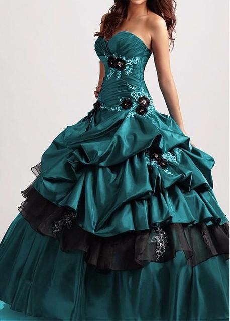 2017 Impressionante Vintage 1950 s Preto Teal vestido de Baile de Tafetá Quinceanera vestidos Doce 16 Vestidos Quinceanera vestido Personalizado