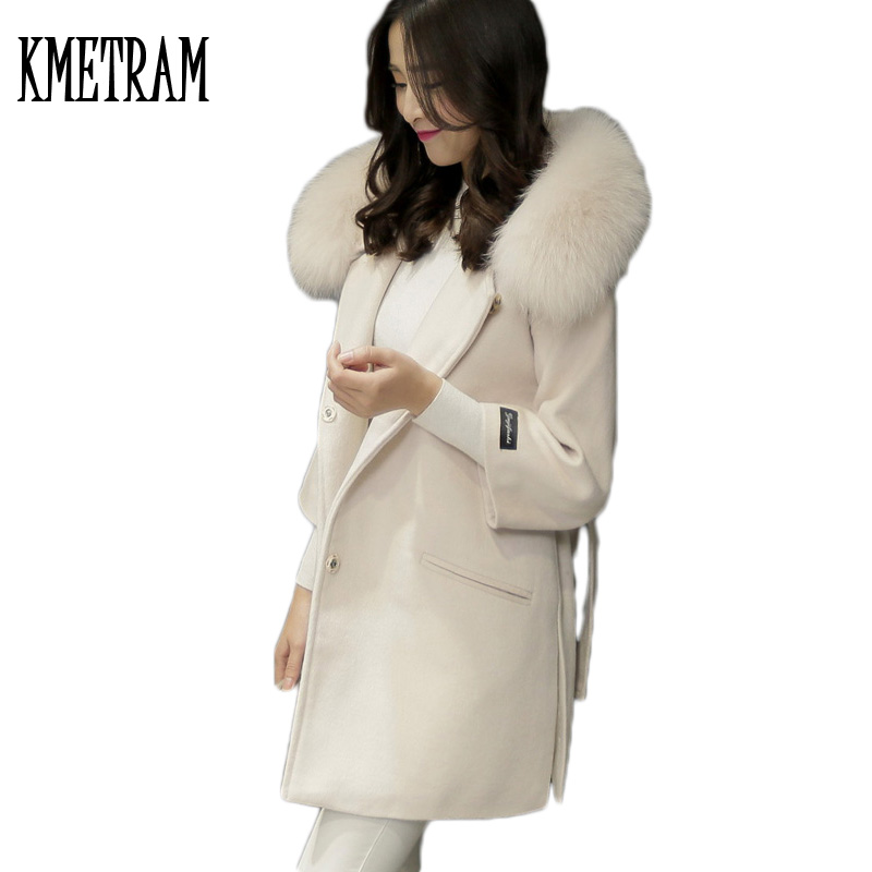 2019 Faux Fox Fur Collar Hooded Womens Wool Coat Lady Fashion Single Breasted Female Suit Slim