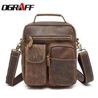 OGRAFF Men Genuine Leather Bag Men Messenger Bag Handbag Birefcases Large Capacity Shoulder Leather Bags Designer