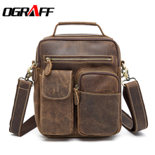 OGRAFF Handbag Men Genuine Leather Bag Men Messenger Bag Handbag Birefcases Crazy Horse Leather Shoulder Bags 2017 Men Bag Small