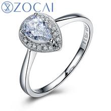 ZOCAI natural water shape diamond 0.50 CT D-E/VVS 18K white gold diamond engagement women ring fine jewelry W06146