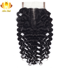 Aliafee Hair Brazilian Deep Wave Middle Part Lace Closure With Baby Hair 4X4 Non-remy Human Hair 130% Density Natural Color