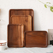 Black Walnut Wooden Tray Nordic Decoration Home Serving Tray Baking Plate Multi-Use Eco Storage Trays for Food/Fruit/Tea(China)