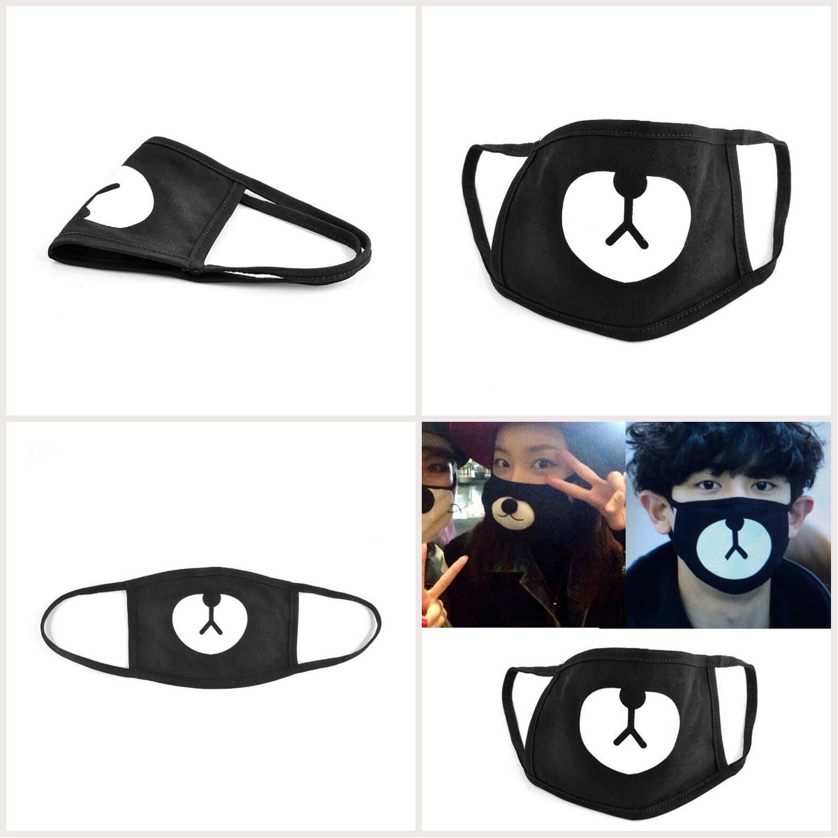 Cotton Dustproof Mouth Face Mask Respirator For Cycling Anti Dust Black Cute Bear Korean Unisex Black