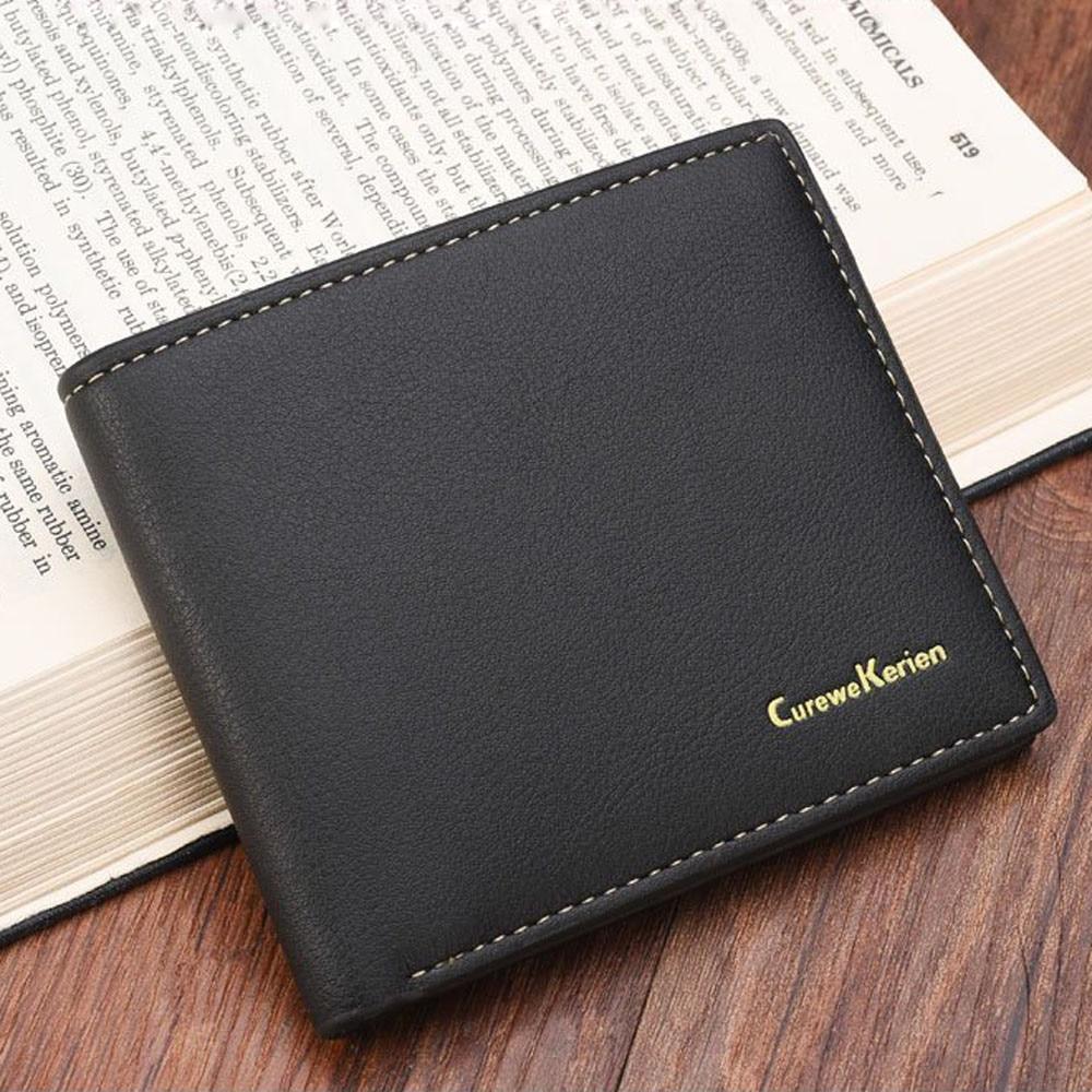 Famous brandMens Fashion Wallets PU Leather Card Photo Holder Solid short Purse Business Clutch Bag Men Coin Change wallet 2017  sh brandmens dial sh035