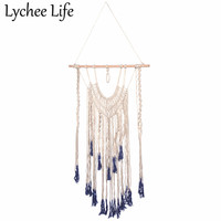 Lychee Life Macrame Woven Hanging Tapestry Colorful Bohemian Tassel Handmade Tapestry Modern Wall Room Home Textile Craft Decor