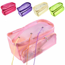 Cute Knitting Bag Organizer Yarn Storage Mesh Tote Case for Crocheting Hook Needles Sewing Accessories