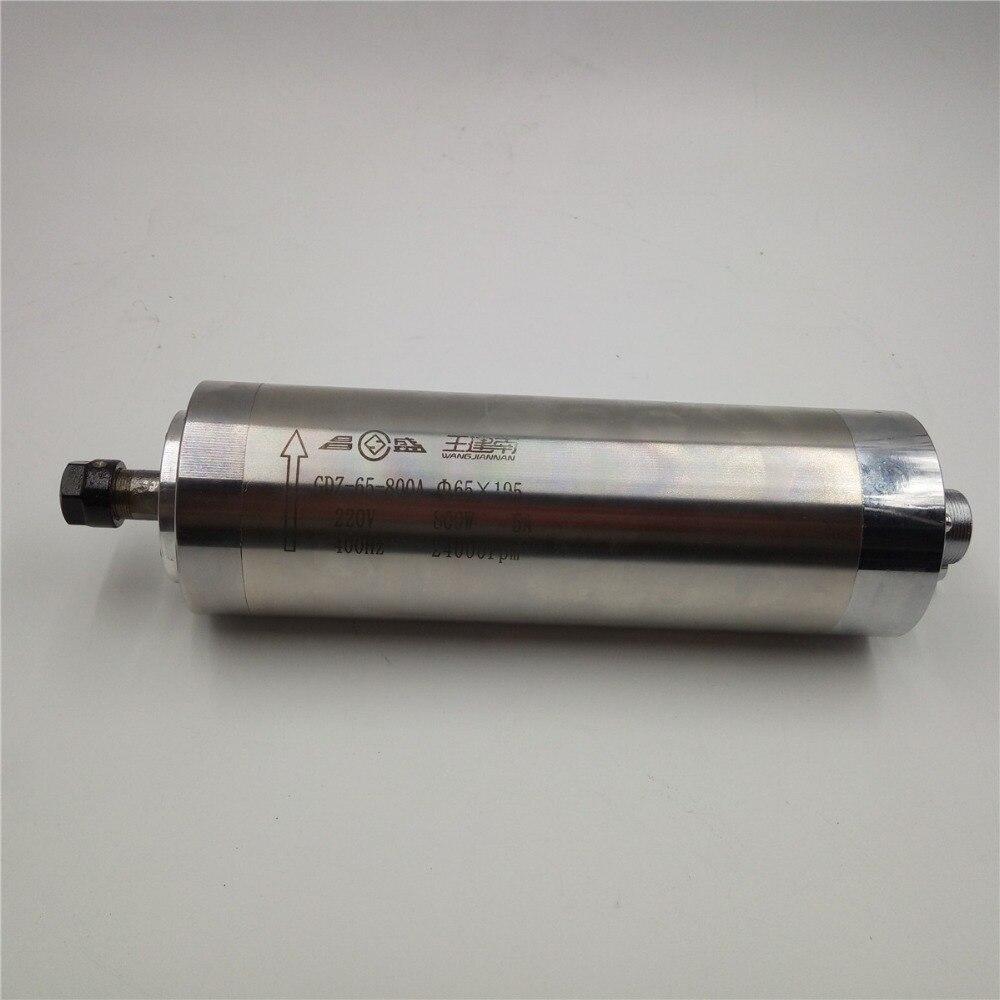 Nouveau 800 W 0.33NM 220 V 5A 400Hz 65*195mm ER11 6mm 24000 tr/min CNC refroidi à l'eau broche moteur Machines de gravure GDZ65-800A