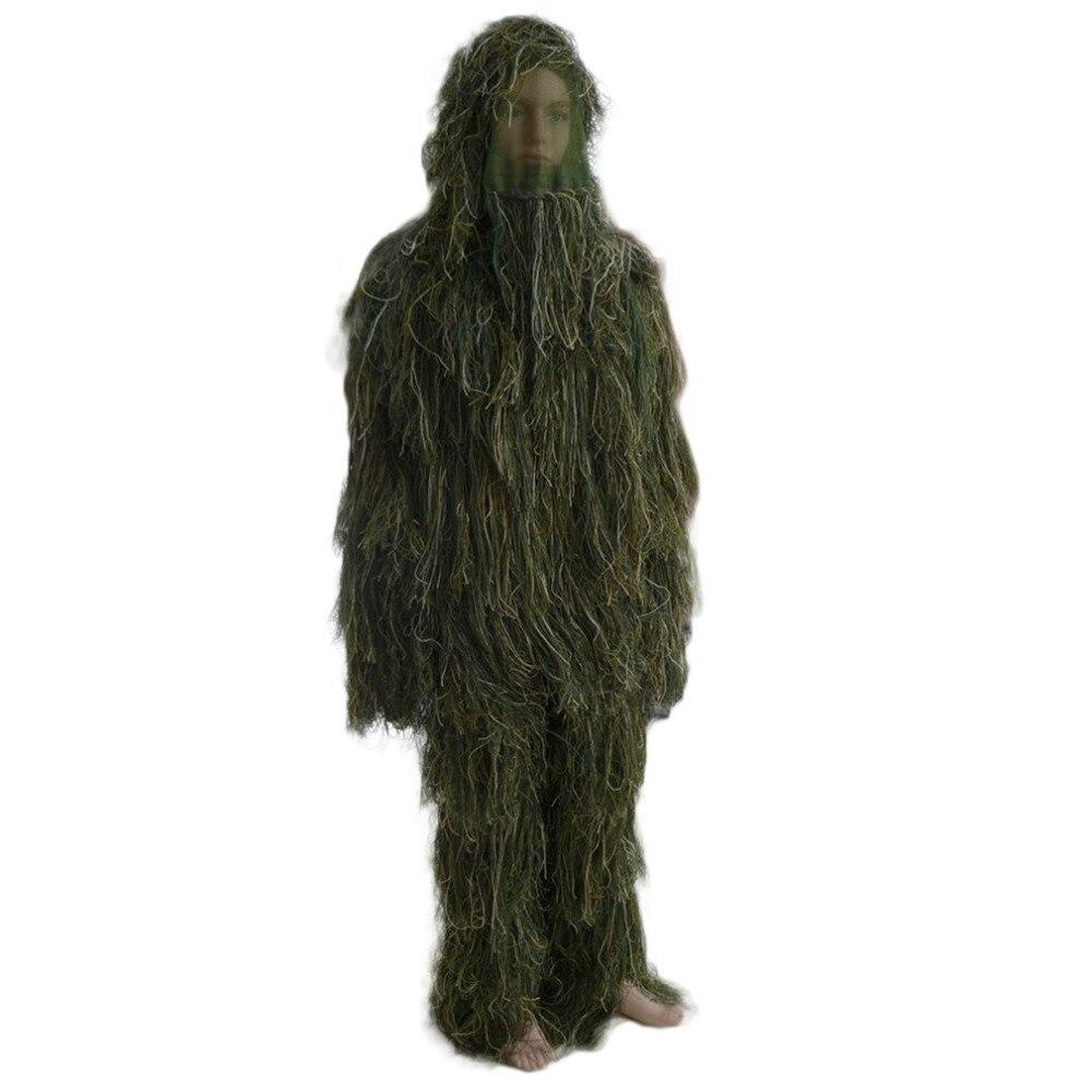 (Livraison à partir de La Russie) 3D Universal Camouflage Costumes Woodland Vêtements Réglable Taille Ghillie convient à Chasse Armée Militaire Tactique