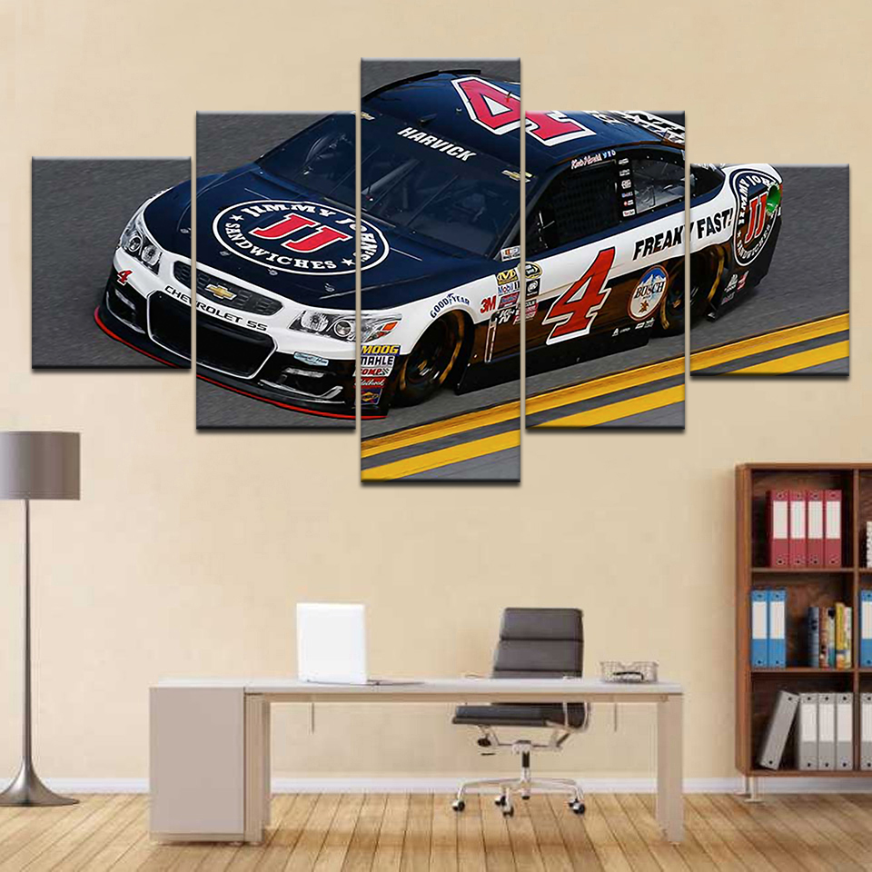 HD Modern Wall Art Pictures Home Decoration Posters Framework 5 Panel Sports Car Racing Living Room Painting Printed Frame