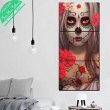 дешево!  3 Шт. Обжигающий Череп Современный Декор Wall Art HD Печатные Холст Картины с Картинками Украшения