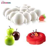 SHENHONG 3PCS Art Silicone Cake Mould Pan 3D Clouds Apple Whirlwind Mold Mousse Silikonowe Baking Chocolate