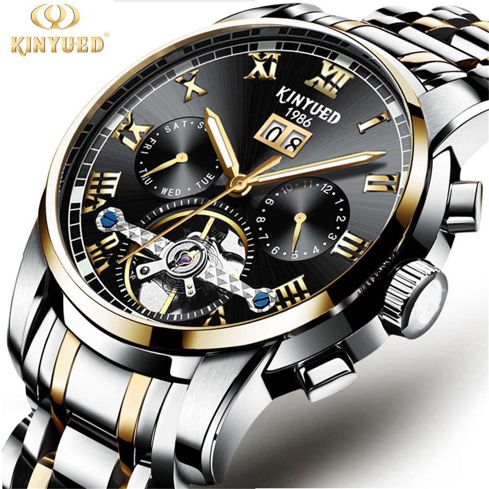 relogio masculino KINYUED Mens Watches Top Brand Luxury Fashion Business Automatic Watch Men Full Steel Waterproof Wristwatch read luxury golden automatic mechanical watches men fashion watch for men wristwatch waterproof full steel relogio masculino new