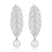 Women S Silver Tone CZ Cream Simulated Pearl Dangle Wedding Long Feather Chandelier Drop Earrings Clear