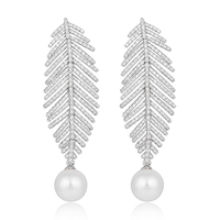 Women S Silver Tone CZ Cream Simulated Pearl Dangle Wedding Long Feather Chandelier Drop Earrings Clear