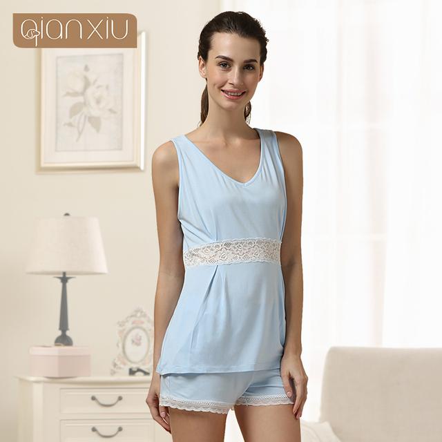Qianxiu l verano Pijama de manga corta Para Las Mujeres de Punto Desgaste Del Salón Modal ropa de Dormir Encapuchado impresión de la flor Mujeres Pajamas1525