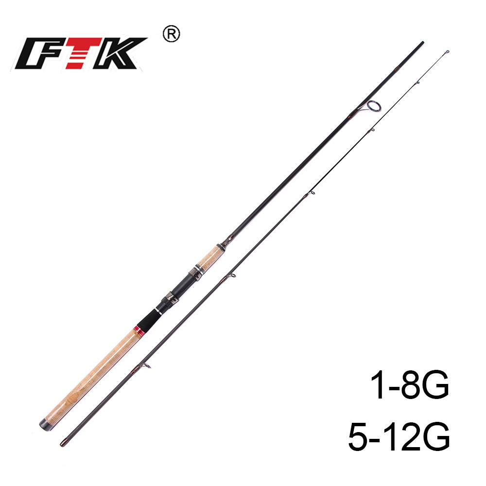 FTK Fishing Rod 99% Carbon C.W 1-8G 5-12G 2.1M 2.4M 2.7M Standard 0.8-1.3MM Tip diameter High Carbon Bass Lure Fishing Tackle GD