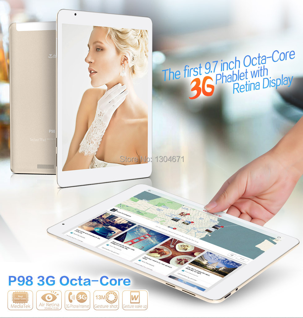 Teclast P98 3G Octa Core MTK8392 Tablet PC Retina 9.7 بوصة 2048x1536 كاميرا مزدوجة 13.0MP Android 4.4 GPS WCDMA مكالمة هاتفية 2GB / 16GB