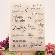 New Happy Birthday Sentence Clear Stamps for Scrapbooking DIY Silicone Seals Photo Album Embossing Folder Paper Template Crafts