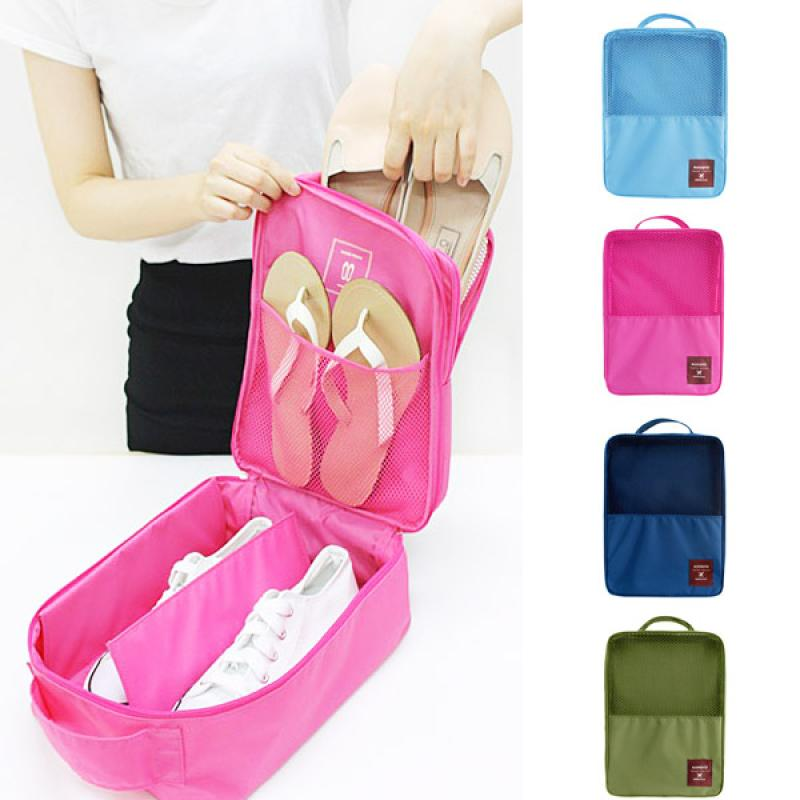 2016 hot sale family used shoes storage box large capacity organizer bags good quality solid color waterproof bags 3 pairs shoes