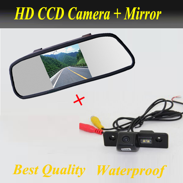 2 in 1 car parking system, CCD Car reverse rearview camera for SKODA ROOMSTER OCTAVIA TOUR FABIA + 5'' Car Mirror monitor защита картера sheriff для skoda octavia 1 tour до 90 лс 1 6 1 8 2 0 1 9 td с 1996 по 2010