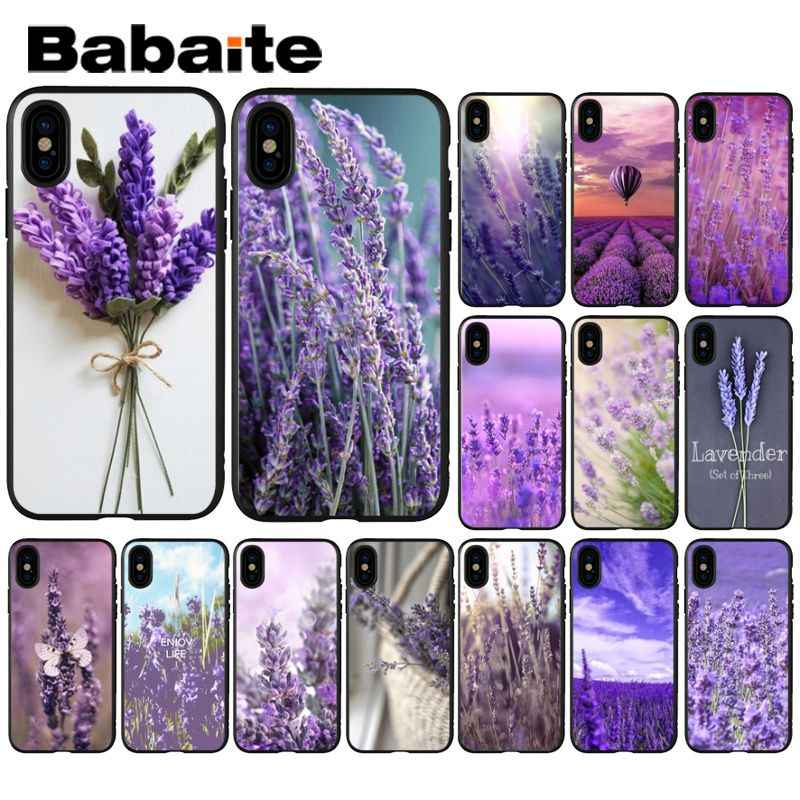 Babaite lavanda Roxo flores de Luxo Tampa Do Telefone Design Exclusivo para o iphone X XS MAX 6 6 S 7 7 plus 8 8 Plus 5 5S XR