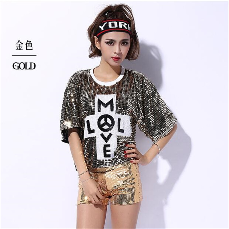 2016 Summer Style Women Female Hip Hop Shine Sequin Paillette Performance Jazz Dance Costumes Bar Club DJ Pole Dancing Clothes image