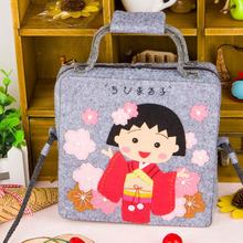 Japanese Little Girl Style Felt DIY Handbag 18x8x5cm Small Size Wallet Mobile Phone Cosmetic Bag Sewing Art Felt DIY Package(China)