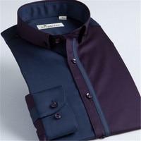 Size 36 46 Male Shirt New french style Patchwork Men shirt long sleev collar cotton 95% slim Man Shirt Social Shirt Male