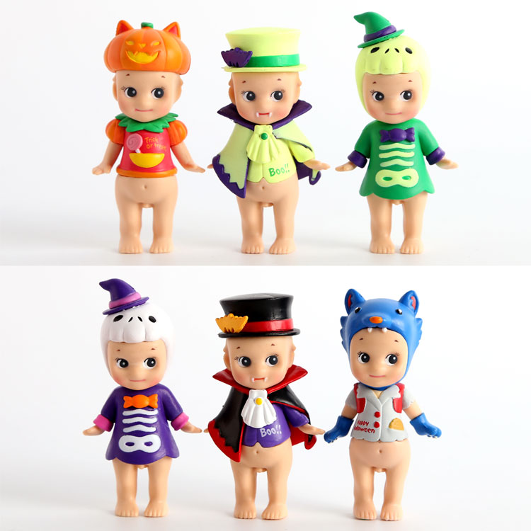 Sonny Angel Halloween Series PVC Action Figures Collectible Model Toys Dolls 6pcs/set KT2182 6pcs set disney trolls dolls action figures toys popular anime cartoon the good luck trolls dolls pvc toys for children gift