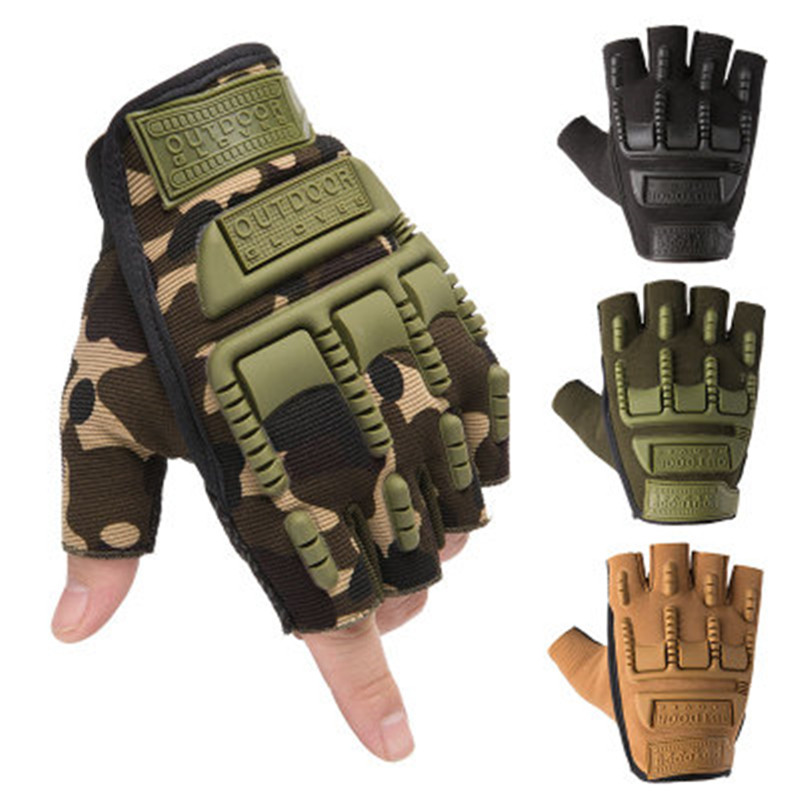 Tactical Soft Rubber Protective Pad Gloves Men's Army Military Combat Hunting Shooting Airsoft Paintball Police Half Fingerless