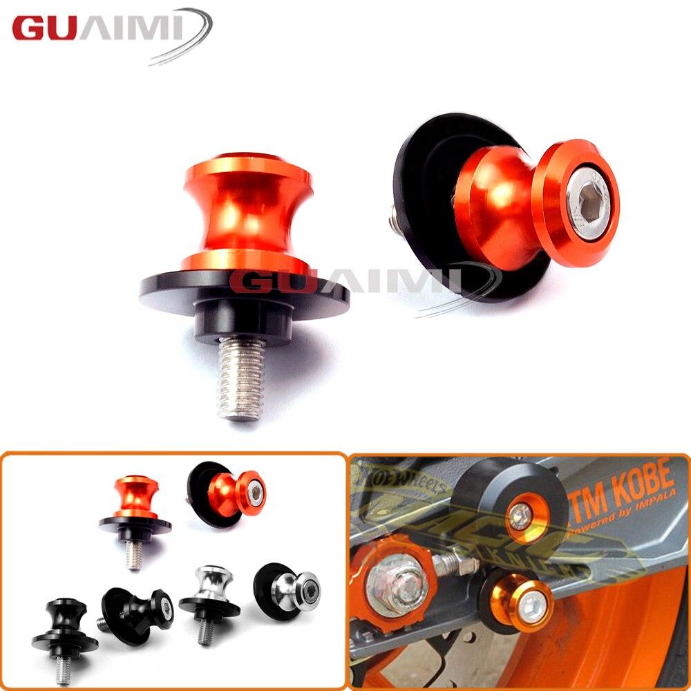 For KTM 990 SMT/SUPERMOTO/SUPER DUKE, 1090/1190/1290 ADVENTURE R Swingarm Spools Slider Stand Screws M10 Motorcycle CNC Aluminum