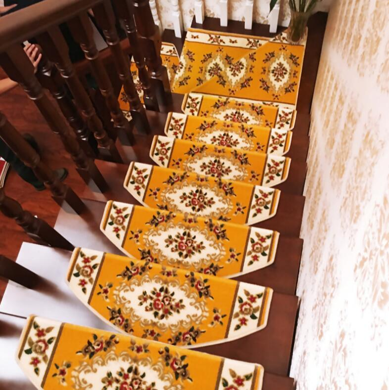 10pcs Non-slip Stair trend Mats European Stair setpping Carpet Sets Step Rug for Stair 65*24cm fit for 24cm width Stair pad mat