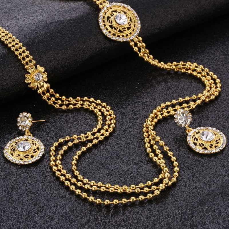 Gothic 24K Gold Filled Jewelry Sets Hollow Indian Dubai Jewelry Sets Multilayer Pendant Necklace Earrings Set for Women