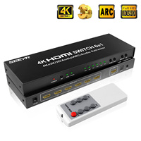 6 Port HDMI Switch 4K 30Hz HDMI Splitter Switcher 6 in 1 out IR Remote Control Ultra HD 1080P 3D with audio extractor for PS3 TV