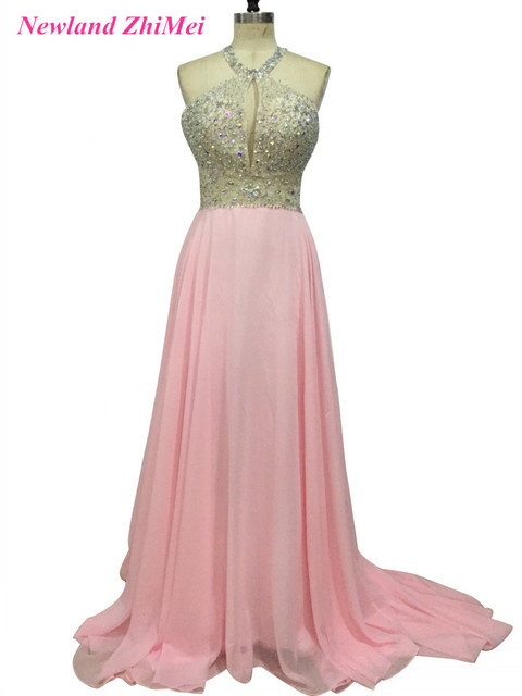 Sparkly Beaded Long Chiffon Prom Dresses Sexy Long Open Back Halter ...