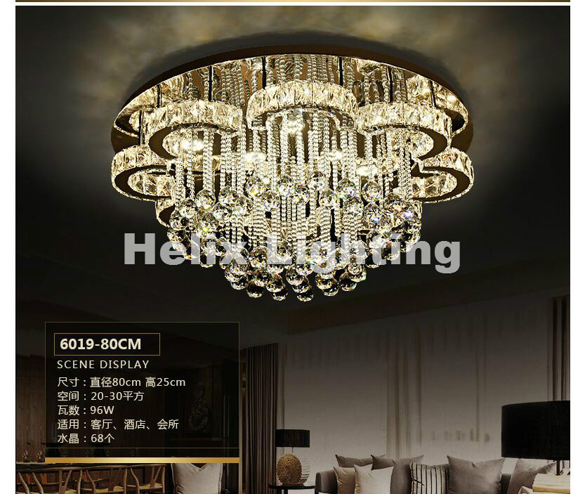Modern D50cm Art decration Ceiling Lamp Hot Sales Moon Style Design Led Crystal Ceiling Lamp Luster Remote LED Crystal Lights