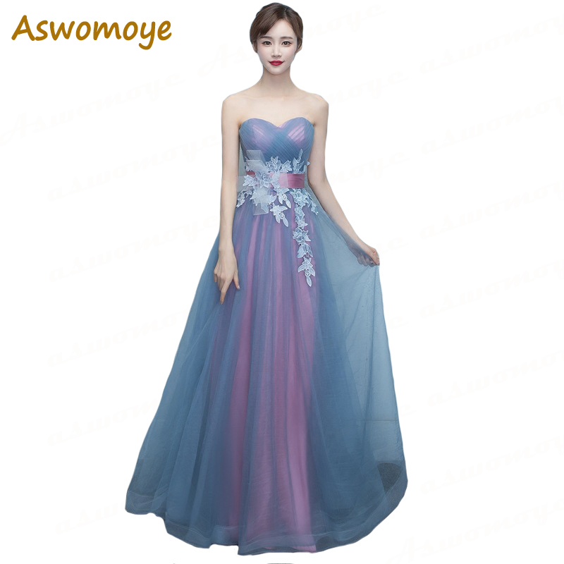 Aswomoye Elegant Women   Evening     Dress   2018 Stylish Flower Sweetheart   Evening   Gown Party   Dress   Sexy Off Shoulder robe de soiree