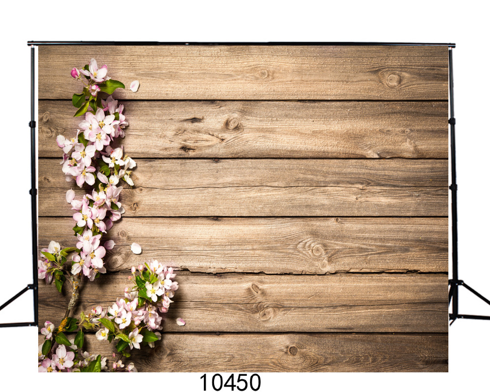 Photography Backgrounds Photo Flower Wooden Plank Customize Vinyl Digital Printing Cloth Backdrops for Photo studio Baby Newborn image