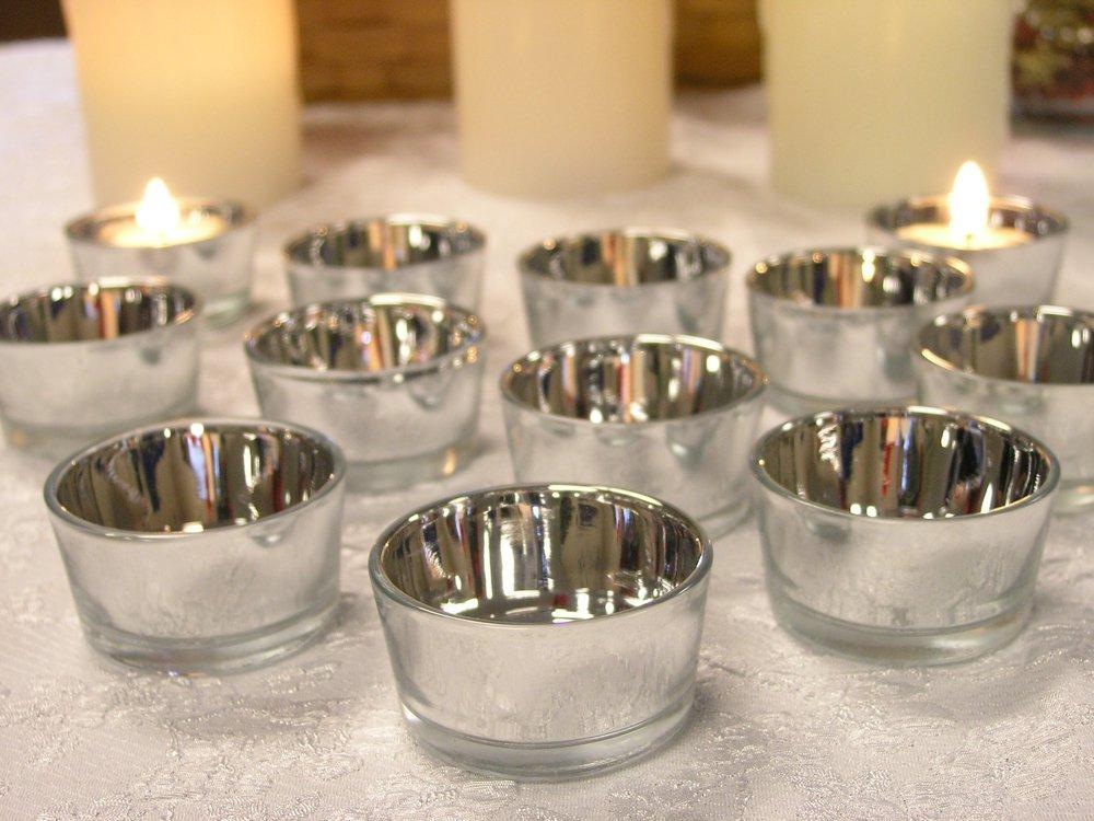 Glass T Light Holders Part - 46: Bulk Set 48PC Glass Silver Color Candle Holder,USD59.04 Per Set/Each