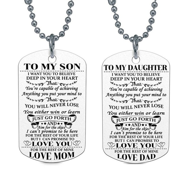 Fashion Family Jewelry To My Son Daughter I Want You Believe Love Dad Mom Dog