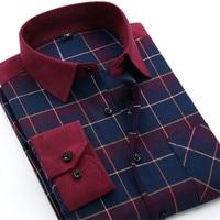 Men Shirts Social Long Sleeve Plaid Brand Mens Fashion Brushed Flannel Casual Slim Fit Shirt Formal