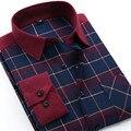 Los hombres Camisas Sociales Mens de la Marca de Moda de Manga Larga A Cuadros de Franela Cepillado Camisa Casual Slim Fit Camisa Camisas de Vestir Formales X338