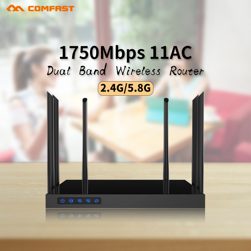 Comfast 1750Mbps Gigabit Wifi Router 500mW High Power Wireless Indoor AP 802.11ac Dual Band Openwrt Poe Router + 6*6dBi Antennas