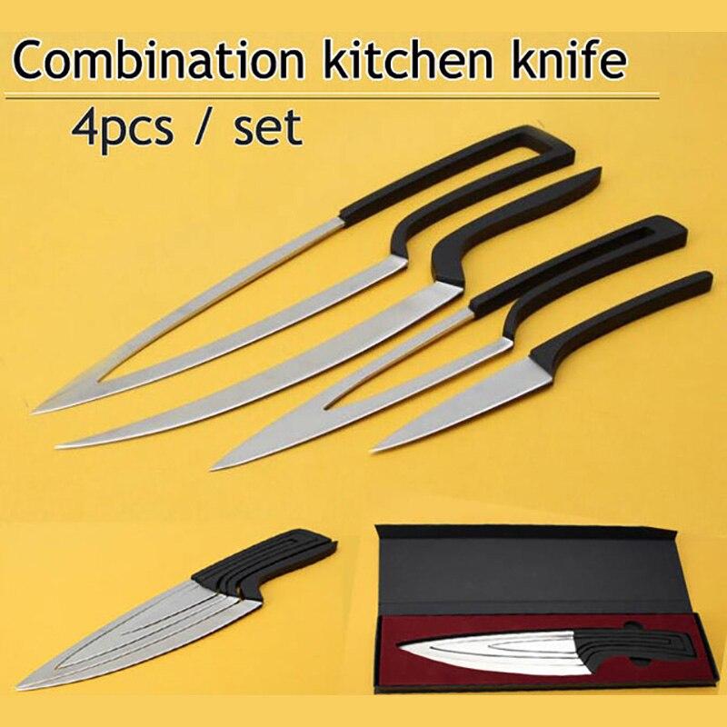 XITUO Multi couteaux de cuisine 4 pièces/ensemble camping en acier inoxydable couteau ensembles edc chef couteau éplucheur/désossage/couperet/couteaux utilitaires outils